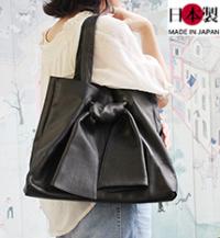 ba155-thu 大人かわいいリボントートバッグ(牛革/日本製)