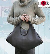 ba223-thu トートバッグ(牛革/日本製)エッジの効いたデザインのバッグ