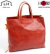 手縫い仕上げの一枚革手提げバッグ(牛革)Mサイズ