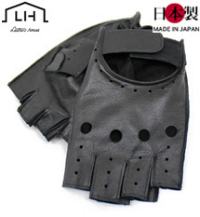 革フィンガーレスグローブ(牛革)メンズ パンチング(日本製)