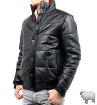 革キルティングジャケットスタンド襟(ラム革)