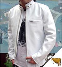 革ジャンスタンド襟シングルライダース(牛革)