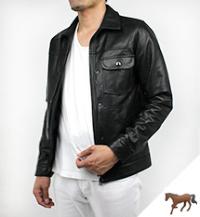 革ジャン襟付き(馬革)Gジャンタイプ黒