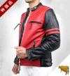 【特価品】スタンド襟シングルライダース2色使い革ジャン(水牛革)赤×黒