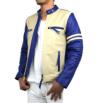 【特価品】スタンド襟シングルライダース2色使い革ジャン(水牛革)アイボリー×青