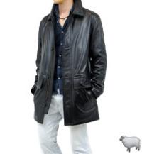 ゆったりサイズのレザーハーフコート(羊革)
