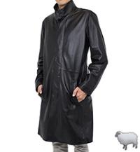 レザーロングコートスタンド襟100cm(羊革)