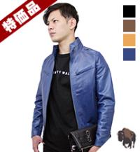 j38-thu スタンド襟シングルレザージャケット(水牛革)