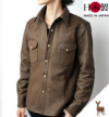 肉厚ソフトレザーシャツ(鹿革)ウエスタン