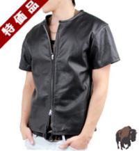 【特価品】メッシュ半袖ZIPシャツ(水牛革)襟無し