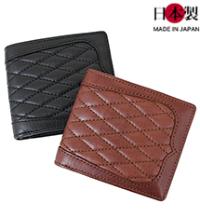sa161-thu ウエスタン調キルティング二つ折り財布(牛革/日本製)