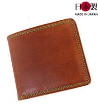 sa164-thu 2色のステッチが彩り鮮やかな二つ折り財布(牛革/日本製)