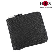 sa167-thu 希少価値が高いサメ革を使用!ラウンドジップ二つ折り財布(サメ革/日本製)