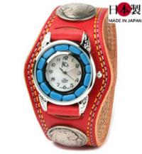 3コンチョ革腕時計ダブルステッチターコイズ(牛革)