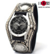 金運を引き寄せる3コンチョ革腕時計パイソン(錦蛇革)